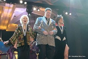 Future Emperor Tree escorts newly knighted Dame Joyce Randolph (The Honeymooners) and Dame Claire Buffie (Miss New York)